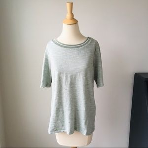 LOFT Outlet Heathered Green Tee, Size Large